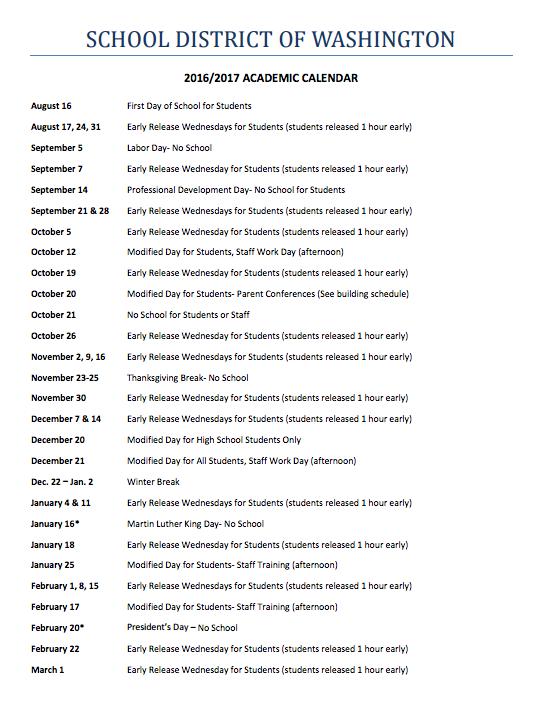 A screenshot of the 2016-2017 academic calendar.