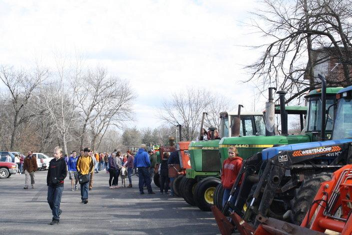 During tractor day, many classes go and visit the FFA students in Washington's parking lot to view and learn more about tractors.  In 1892, John Forelich created the first tractor in Iowa.