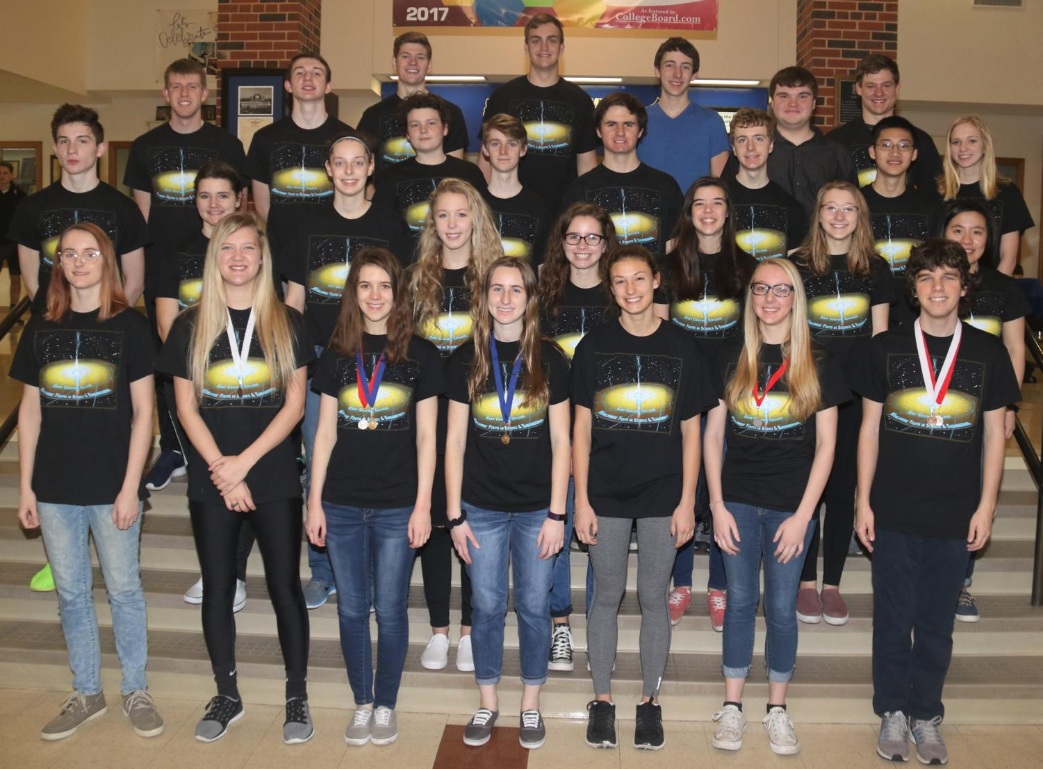 """The WHS WYSE poses for a picture after the team competed Feb. 13, 2018 at East Central College. """"The preference [for the team] is senior, juniors and then sophomores, but sophomores are rare unless they're really strong in a subject,"""