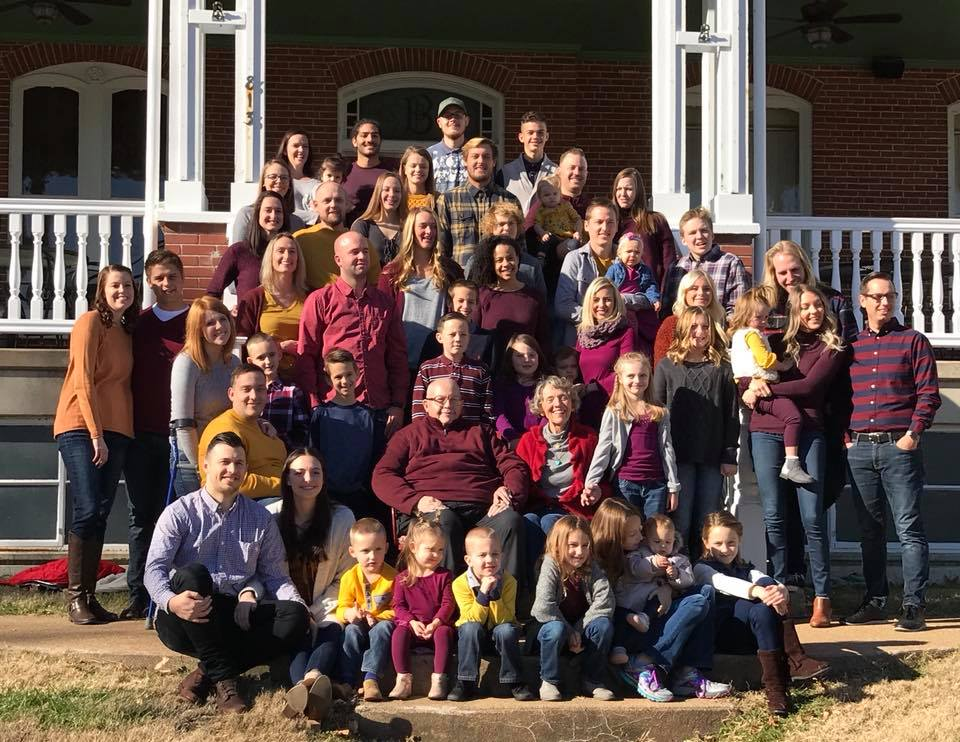 Some of the Nelson grandchildren and great-grandchildren pose for a family picture last November.