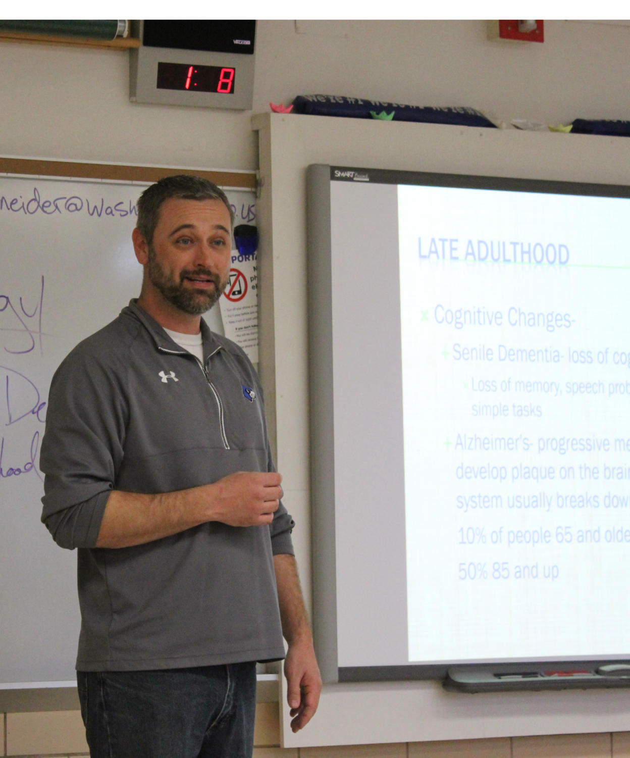 Clint Schneider teaches during his sixth-hour Psychology class.