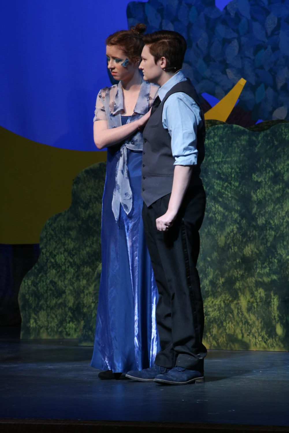 "Juniors Finnigan Hess and Audrey Bush perform in the Teacher Feature Wednesday, March 6. ""I like that you get to go on stage and be the person that you're playing,"" Hess said. ""You don't have to deal with whatever is in your life."" Playing the part of Lysander and Hermia, the two marry in the end."