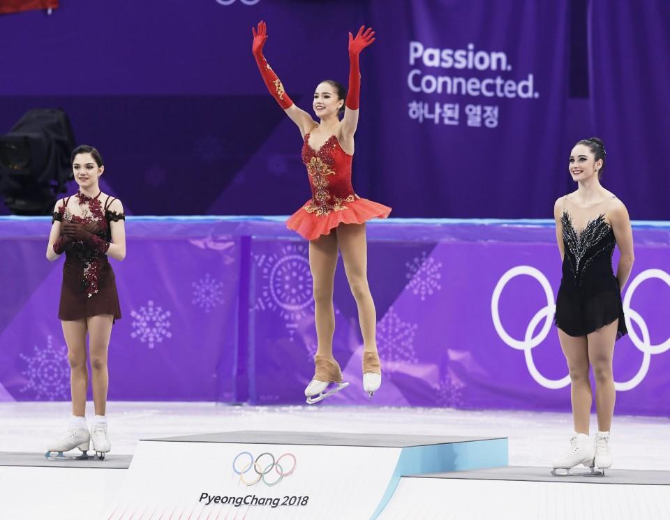 The three Winter Olympics women's singles medalists, (left to right) Evgenia Medvedeva (RUS), Alina Zagitova (RUS) and Katelyn Osmond (CAN).