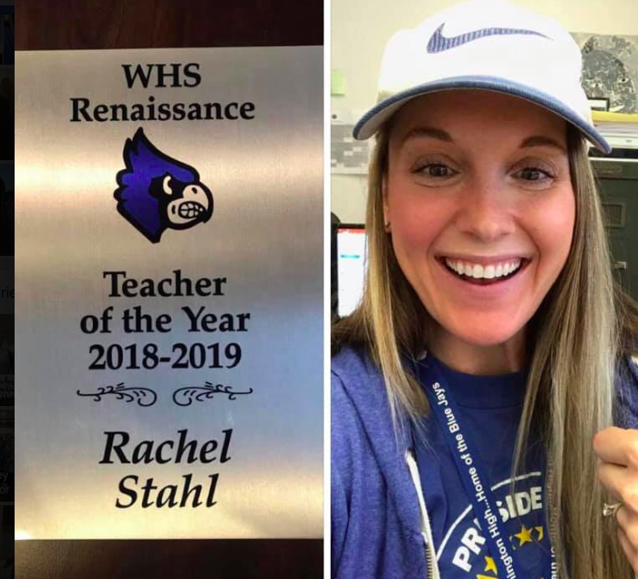 English teaching Rachel Stahl was awarded Teacher of the Year for the 2019 school year.