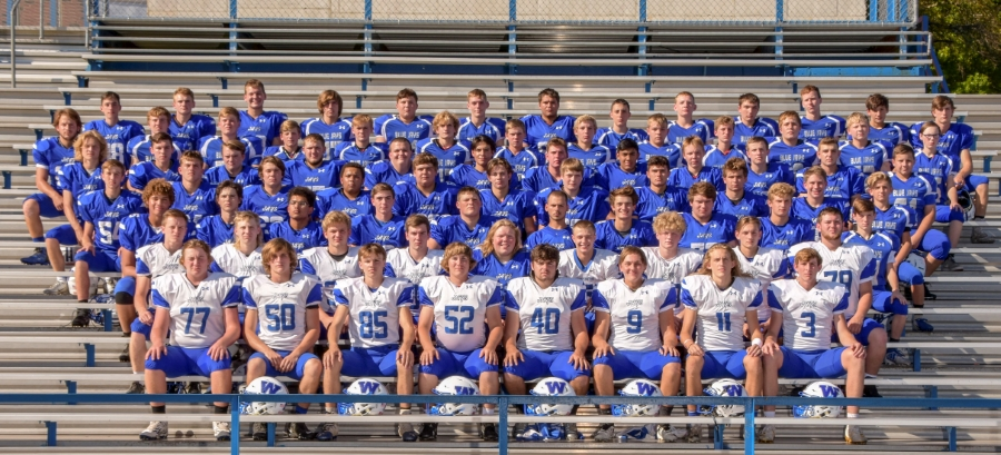 The 2019 football Blue Jays pose for a team photo at WHS.