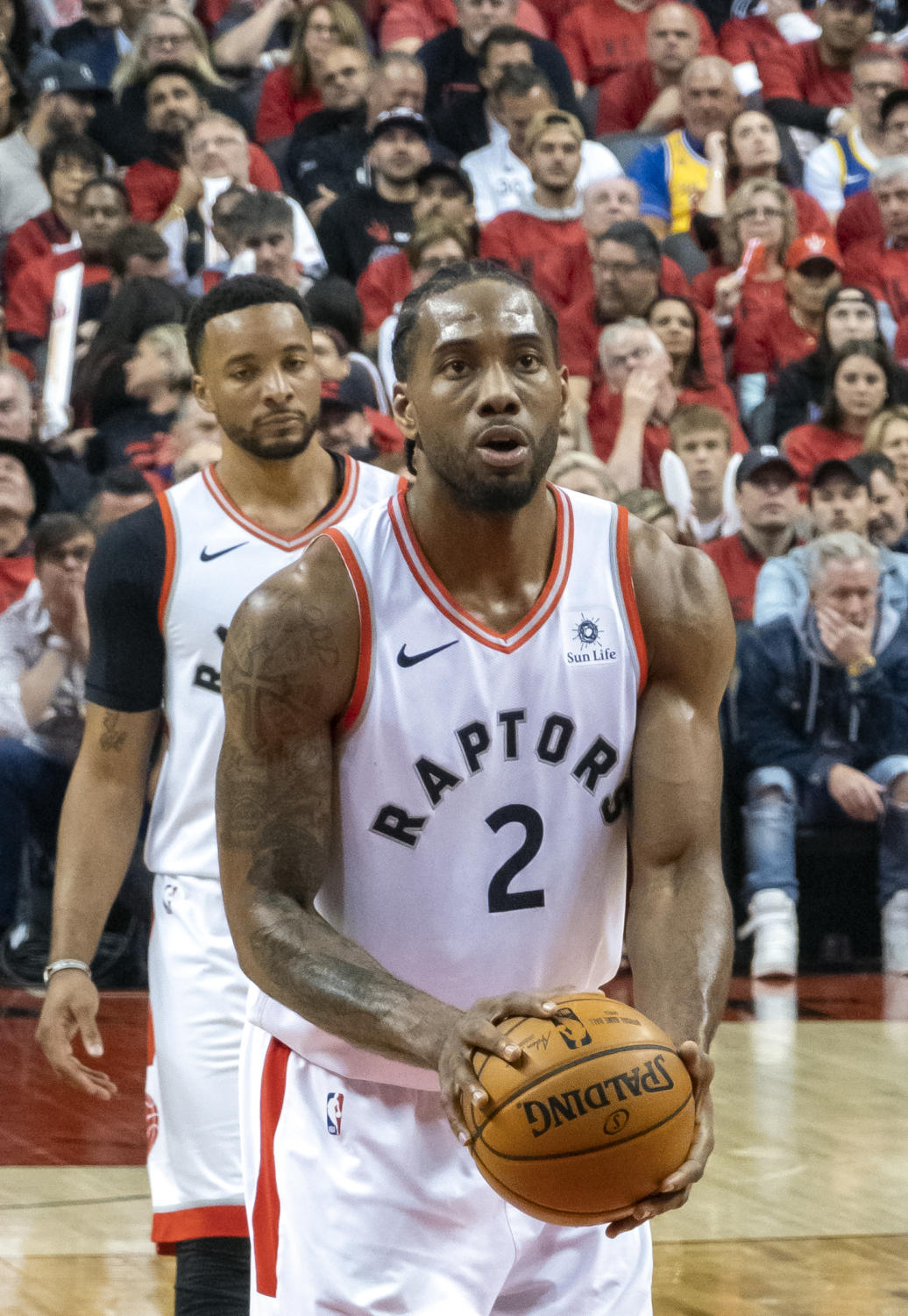 Kawhi Leonard, the Finals MVP, shoots a free throw in the 2019 NBA Finals. He was the star of the show in that series, helping the Toronto Raptors win their first NBA Championship. Leonard surprised the league when he signed with the LA Clippers in the off-season.