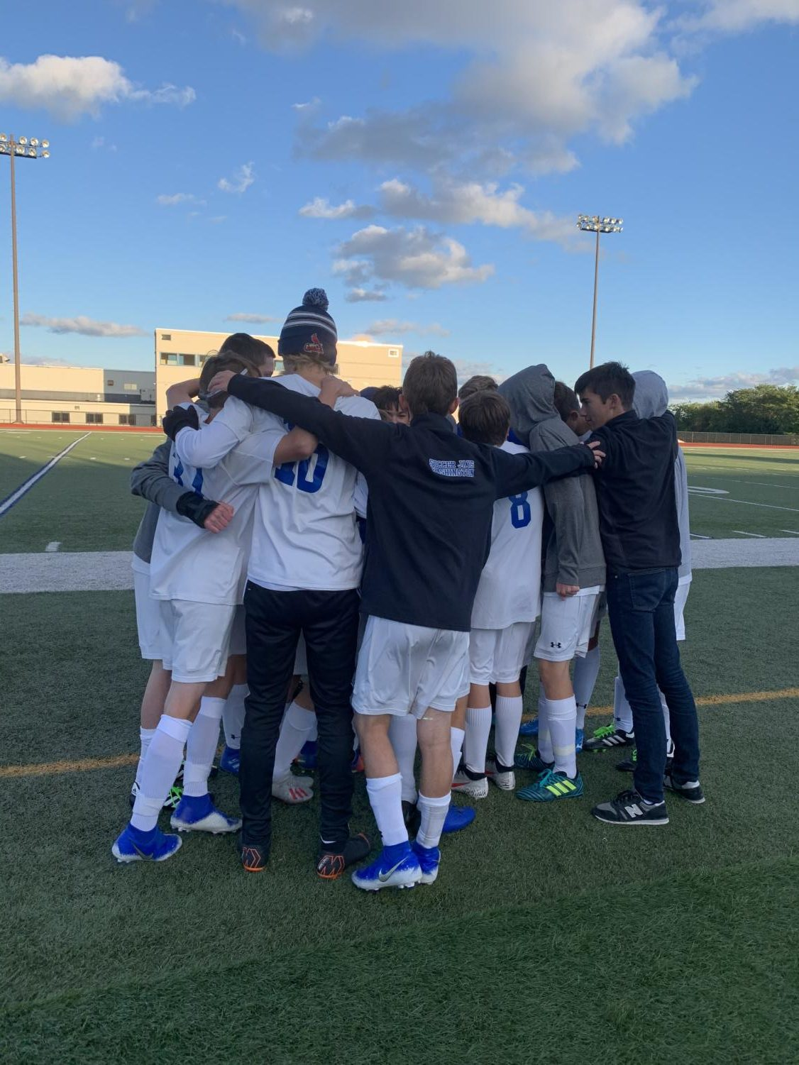The JV soccer team breaks out after the first half of their game at Borgia High School Oct. 11. The Knights won 2-0.