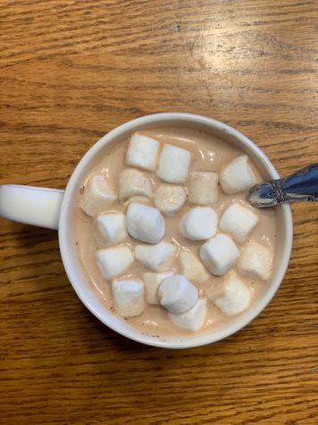 Caramel hot chocolate warms the winter weather away