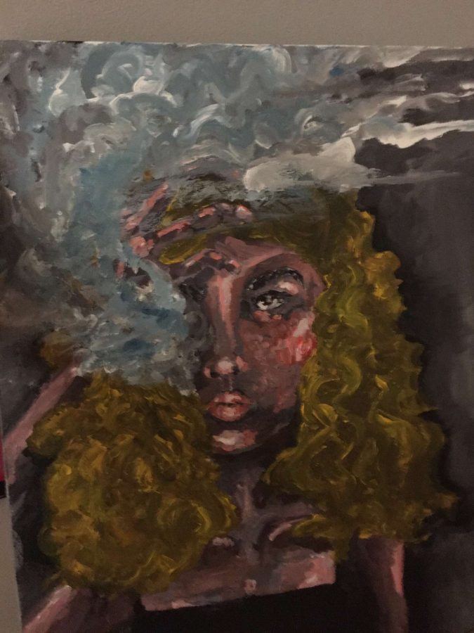 "Sophomore Olivia's Courtney uses acrylics in many of her paintings. ""[Art] also gives me an opportunity to listen to music,"" Courtney said. ""I don"
