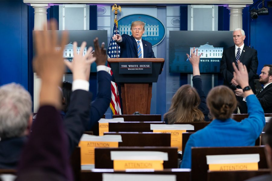 President Donald Trump answers questions during a coronavirus update.