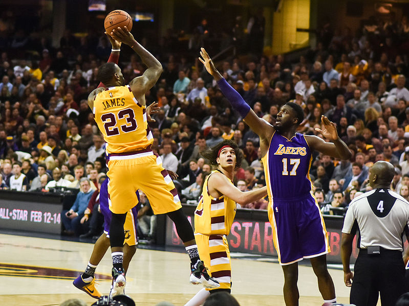 LeBron James shoots a fadeaway against his future team, the Los Angeles Lakers. He is now carrying the Lakers on an NBA Finals run with former Pelicans star Anthony Davis. The blockbuster trade for Davis instantly made the Lakers a competitor for the NBA Championship.