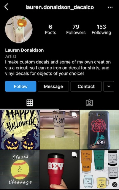 Senior Lauren Donaldson's Instagram account promotes her decal business. Photo Courtesy of Instagram