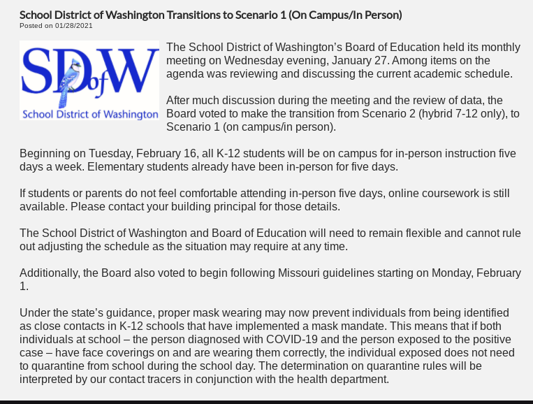 The School District of Washington announces on their website that they are transitioning to scenario one.