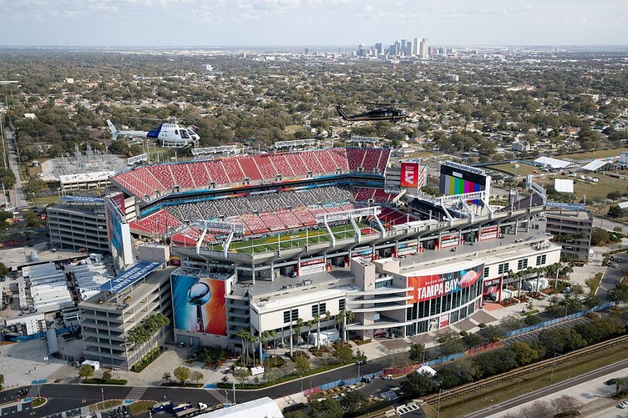 U.S. Customs and Border Protection UH-60 Black Hawk helicopter crews assigned to Air and Marine Operations (AMO), Miami Air and Marine Branch patrol the airspace over Raymond James Stadium in Tampa, Fla., Jan. 31, 2021, in advance of Super Bowl LV.